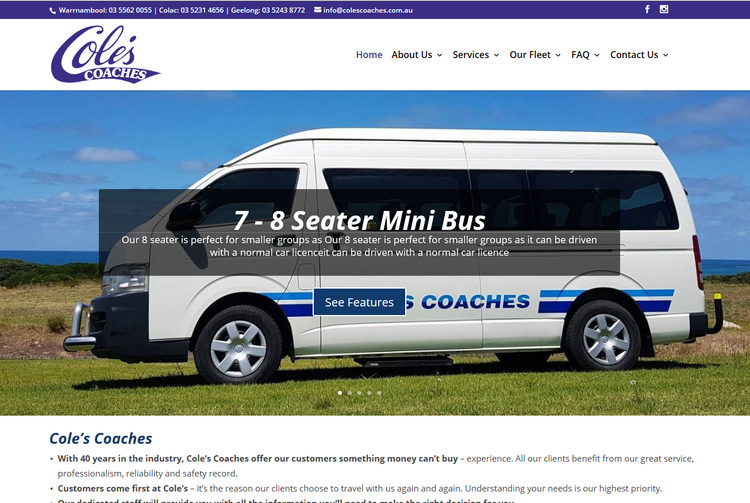 Albury Wodonga Website Designer - Coles Coaches